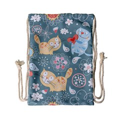 Cute Cat Background Pattern Drawstring Bag (small) by BangZart