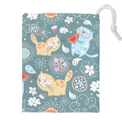 Cute Cat Background Pattern Drawstring Pouches (xxl) by BangZart