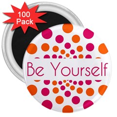 Be Yourself Pink Orange Dots Circular 3  Magnets (100 Pack) by BangZart