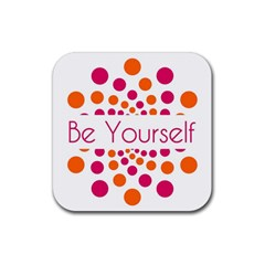 Be Yourself Pink Orange Dots Circular Rubber Coaster (square)  by BangZart