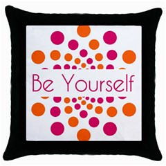 Be Yourself Pink Orange Dots Circular Throw Pillow Case (black) by BangZart