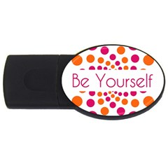 Be Yourself Pink Orange Dots Circular Usb Flash Drive Oval (2 Gb) by BangZart