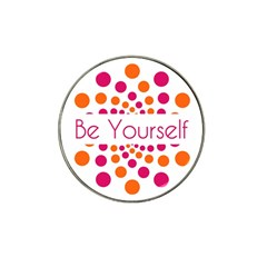 Be Yourself Pink Orange Dots Circular Hat Clip Ball Marker (4 Pack) by BangZart