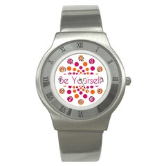 Be Yourself Pink Orange Dots Circular Stainless Steel Watch by BangZart