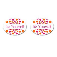 Be Yourself Pink Orange Dots Circular Cufflinks (oval) by BangZart