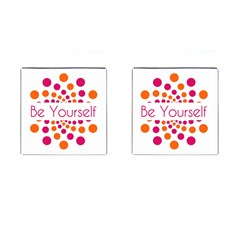 Be Yourself Pink Orange Dots Circular Cufflinks (square) by BangZart