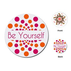 Be Yourself Pink Orange Dots Circular Playing Cards (round)  by BangZart