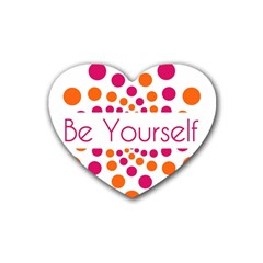 Be Yourself Pink Orange Dots Circular Heart Coaster (4 Pack)  by BangZart