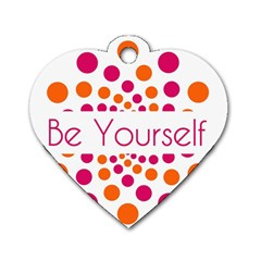 Be Yourself Pink Orange Dots Circular Dog Tag Heart (one Side) by BangZart