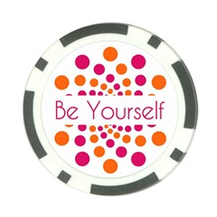Be Yourself Pink Orange Dots Circular Poker Chip Card Guard (10 Pack) by BangZart