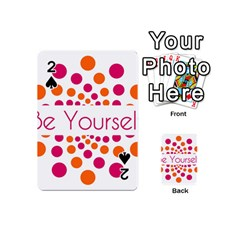 Be Yourself Pink Orange Dots Circular Playing Cards 54 (mini)  by BangZart
