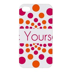 Be Yourself Pink Orange Dots Circular Apple Iphone 4/4s Premium Hardshell Case by BangZart