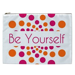 Be Yourself Pink Orange Dots Circular Cosmetic Bag (xxl)  by BangZart