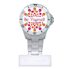 Be Yourself Pink Orange Dots Circular Plastic Nurses Watch by BangZart