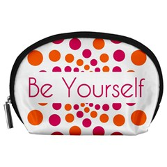 Be Yourself Pink Orange Dots Circular Accessory Pouches (large)  by BangZart