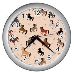 Horses For Courses Pattern Wall Clocks (silver)  by BangZart