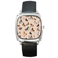 Horses For Courses Pattern Square Metal Watch