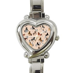 Horses For Courses Pattern Heart Italian Charm Watch by BangZart