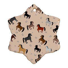 Horses For Courses Pattern Snowflake Ornament (two Sides)