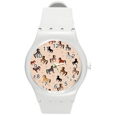 Horses For Courses Pattern Round Plastic Sport Watch (m) by BangZart