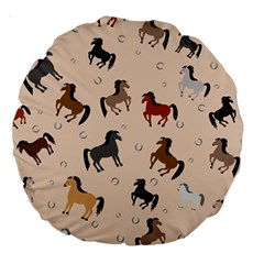 Horses For Courses Pattern Large 18  Premium Round Cushions by BangZart