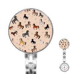 Horses For Courses Pattern Stainless Steel Nurses Watch