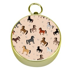 Horses For Courses Pattern Gold Compasses by BangZart