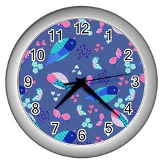 Birds And Butterflies Wall Clocks (silver)  by BangZart