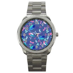 Birds And Butterflies Sport Metal Watch by BangZart