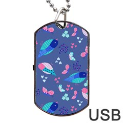 Birds And Butterflies Dog Tag Usb Flash (two Sides)