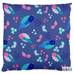 Birds And Butterflies Large Flano Cushion Case (two Sides) by BangZart