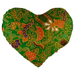 Art Batik The Traditional Fabric Large 19  Premium Flano Heart Shape Cushions by BangZart