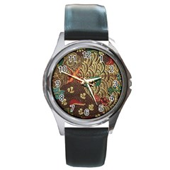 Art Traditional Flower  Batik Pattern Round Metal Watch