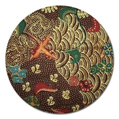 Art Traditional Flower  Batik Pattern Magnet 5  (round) by BangZart