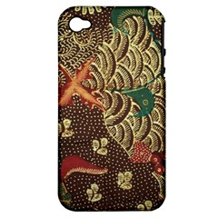 Art Traditional Flower  Batik Pattern Apple Iphone 4/4s Hardshell Case (pc+silicone) by BangZart