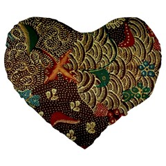 Art Traditional Flower  Batik Pattern Large 19  Premium Heart Shape Cushions by BangZart