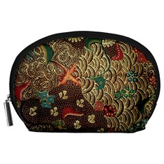 Art Traditional Flower  Batik Pattern Accessory Pouches (large)  by BangZart