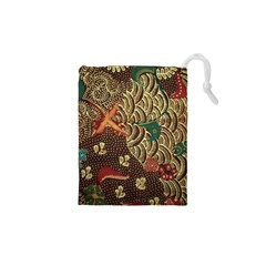 Art Traditional Flower  Batik Pattern Drawstring Pouches (xs)  by BangZart