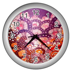 Colorful Art Traditional Batik Pattern Wall Clocks (silver)  by BangZart