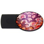 Colorful Art Traditional Batik Pattern USB Flash Drive Oval (2 GB) Front