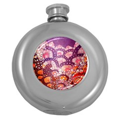 Colorful Art Traditional Batik Pattern Round Hip Flask (5 Oz) by BangZart