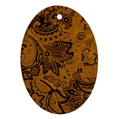 Art Traditional Batik Flower Pattern Oval Ornament (two Sides) by BangZart