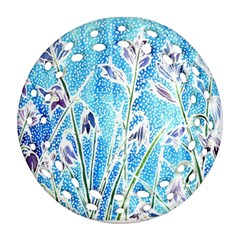 Art Batik Flowers Pattern Round Filigree Ornament (two Sides)