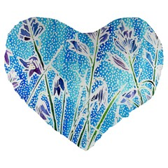 Art Batik Flowers Pattern Large 19  Premium Heart Shape Cushions by BangZart