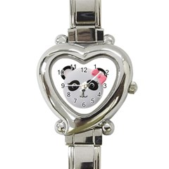 Pretty Cute Panda Heart Italian Charm Watch