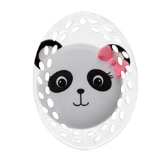 Pretty Cute Panda Oval Filigree Ornament (two Sides) by BangZart