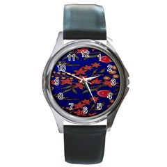 Batik  Fabric Round Metal Watch