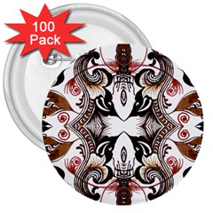 Art Traditional Batik Flower Pattern 3  Buttons (100 Pack)  by BangZart