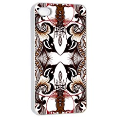 Art Traditional Batik Flower Pattern Apple Iphone 4/4s Seamless Case (white) by BangZart