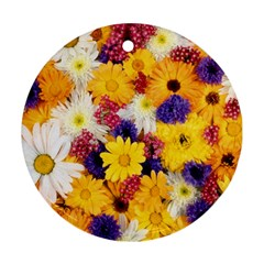 Colorful Flowers Pattern Ornament (round) by BangZart